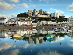 Reflections at Torquay Harbour (rosiespoonerphotos) Tags: uk sea england seascape water clouds canon reflections boats photography coast raw photos ps devon torquay hdr compact gettyimages westcountry coastpath torbay torquayharbour tonemapped g10 devonandcornwall rosiesphotos canong10 rosiespooner rosyrosie2009 rosemaryspooner rosiespoonerphotography