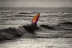 Windsurfing (Dom Walton) Tags: sea colour film beach island waves hayling board sail windsurfing 1983 ektachrome selective domwalton