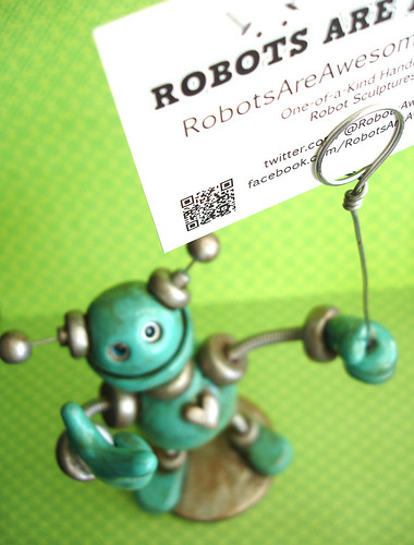 Aqua Albert Robot Sculpture Sign Holder by HerArtSheLoves