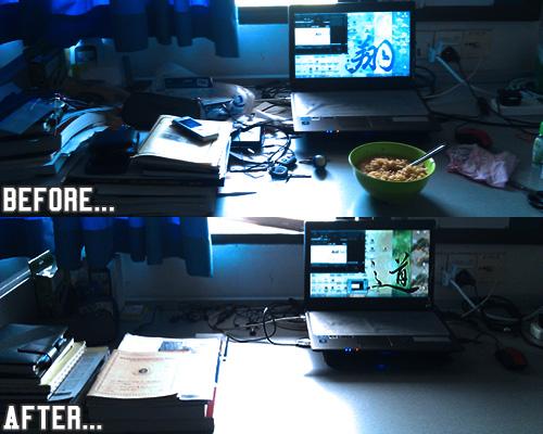 Meja Studi yang Kemas