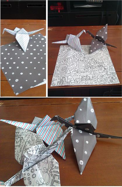 giant paper cranes