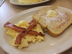French toast, eggs, bacon