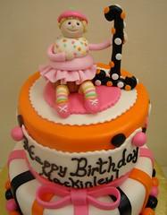 Whimsical Halloween Birthday Cake (JMC Custom Cakes) Tags: birthday pink orange black halloween cake cupcake whimsical fondant buttercream