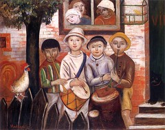 Makowski, Tadeusz (1882-1932) - 1922 Children's Orchestra (National Museum, Warsaw, Poland) (RasMarley) Tags: 1920s music cat children group polish streetscene painter rooster 1922 naive groupportrait 20thcentury primitive makowski publiccollection childrensorchestra tadeuszmakowski