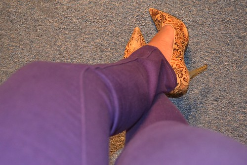 bright jeans, brocade heels, looking fly on a dime