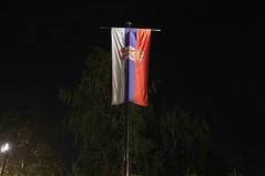 Serbian Flag, Tamajdan (bmhammo) Tags: park night time flag serbia pole belgrade serbian tamajdan tasmajdan