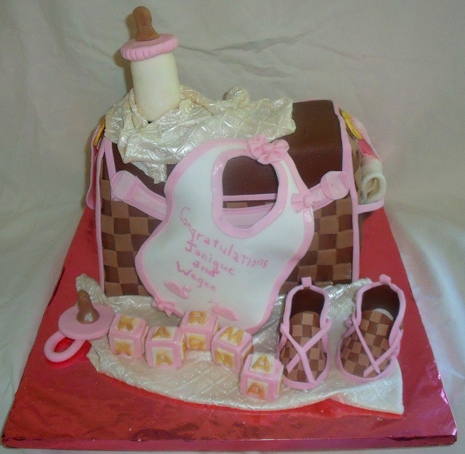a545744e0615 Baby Diaper Bag Fondant Cake with Louis Vuitton checkerboard pattern Main  View (tanyacakes) Tags