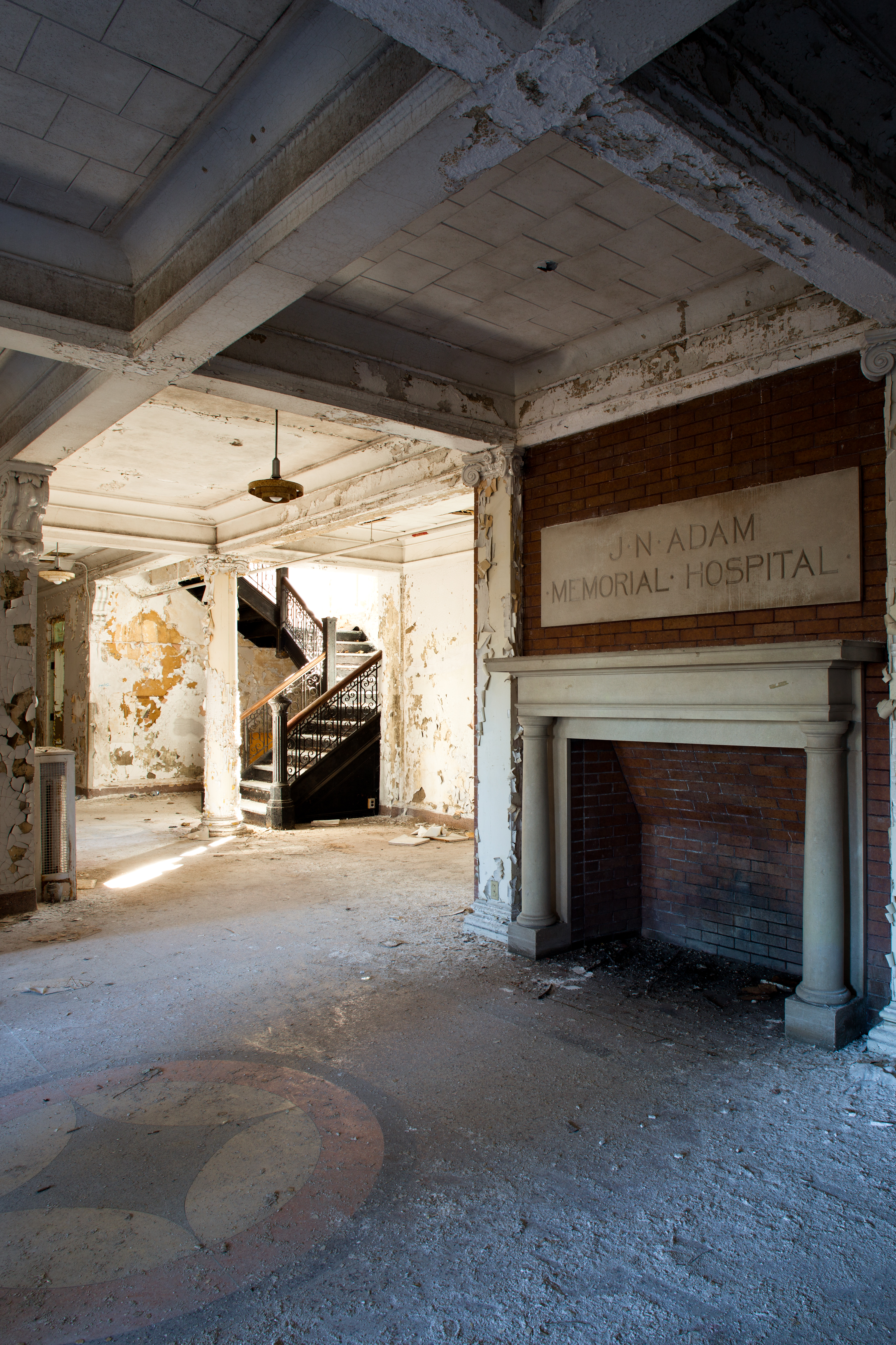 the lobby of an abandoned sanatorium near buffalo new york