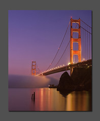 Calm Morning Fog at the Golden Gate (RZ68) Tags: bridge blue light color reflection film water fog mediumformat reflections lights golden bay gate san francisco baker fort cove marin foggy calm velvia hour headlands ft horseshoe 6x7 provia ggnra e100 rz68
