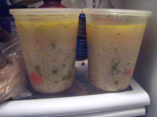 Homemade Soup Stored in Fridge