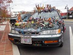 Car Art or junk (Dave* Seven One) Tags: art strange look kids youth honda accord wow fun toys junk funny dolls lol advertisement crap stuff statement local woodstock eyesore