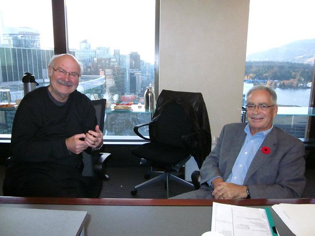 Our illustrious Chairman, Mike Harcourt and Director, Ken Cameron at PlaceSpeak's November Board Meeting.