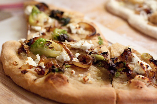 Roasted brussel sprout & caramelized onion pizza #pizzapartyin5