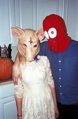 (Jacob Seaton) Tags: boy man halloween kitchen beer girl pumpkin pig women couple dress mask knives nationalbohemian maks invertedcross natiboh lukespicknall jasminecindy