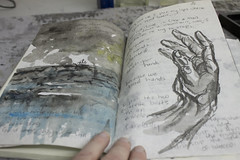 I wanted to touch your hand (plasticpumpkin) Tags: black art watercolor painting book hand gray ricepaper bookarts brushpainting