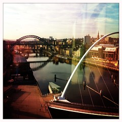 320/365 sun on the tyne.. (sarahjanequinn) Tags: city buildings river newcastle baltic sage tyne gateshead iphone project365 hipstamatic