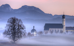 Wilparting in the mist II (Explore) (svenpetersen1965) Tags: sunset mist church fog bavaria hdr schwarzenberg pilgramage wendelstein breitenstein irschenberg 3px seebergkopf stmarinusanian wilparting