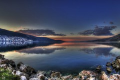 (dtsortanidis) Tags: city travel cruise blue sunset sea sky orange green nature beautiful clouds photoshop canon reflections landscape island lights town interesting holidays rocks village mark fisheye greece filter ii 5d ef hdr 815 dimitris dimitrios  amfilochia  skyscapy 815mm tsortanidis seascapy