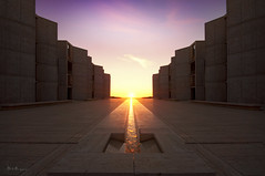 Salk Equinox (Lee Sie) Tags: sunset sky sun water buildings spring stream courtyard symmetry flare salk equinox ccl