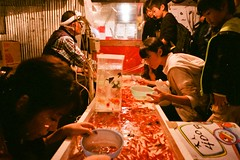 (JRN*) Tags: travel autumn fish film japan night gold tokyo shinjuku asia market shibuya ricoh gr1 2011 fuji800
