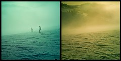 Sometimes you see them, sometimes - you don't... (aistora) Tags: mist mountain snow blur ski alps colour fog alpes diptych skiing cloudy tint diffusion toned hue tone toning