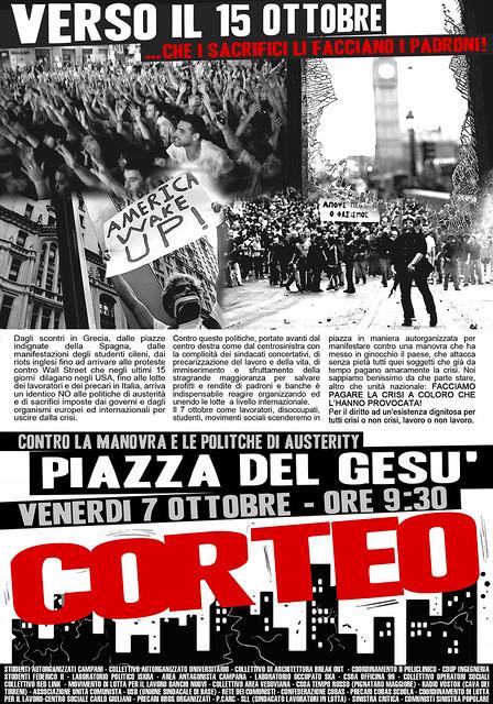Tutti in piazza del Gesù il 7 ottobre - Non ci lasceremo manovrare! People rise up!