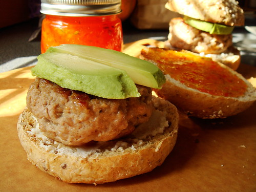 Juicy Turkey Burger with Hot Pepper Jelly