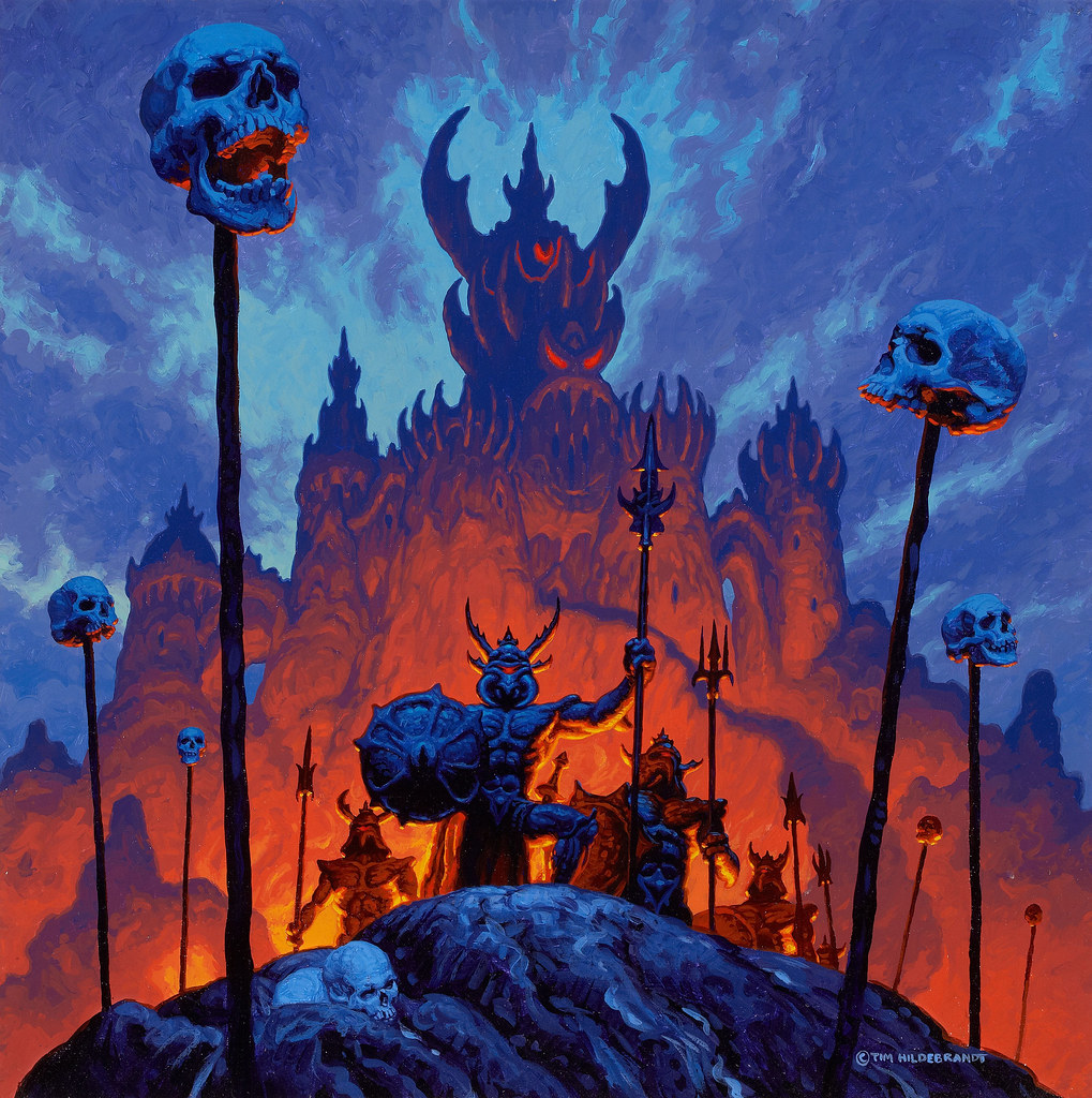 Tim Hildebrandt - A Firepit, Realms of Wonder calendar illustration, 1983
