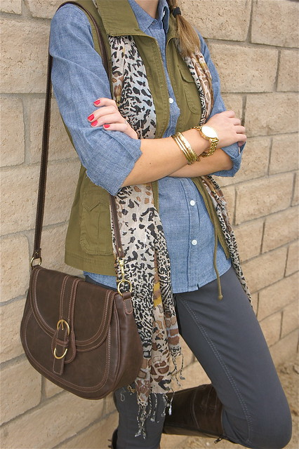 Green cargo vest with leopard scarf