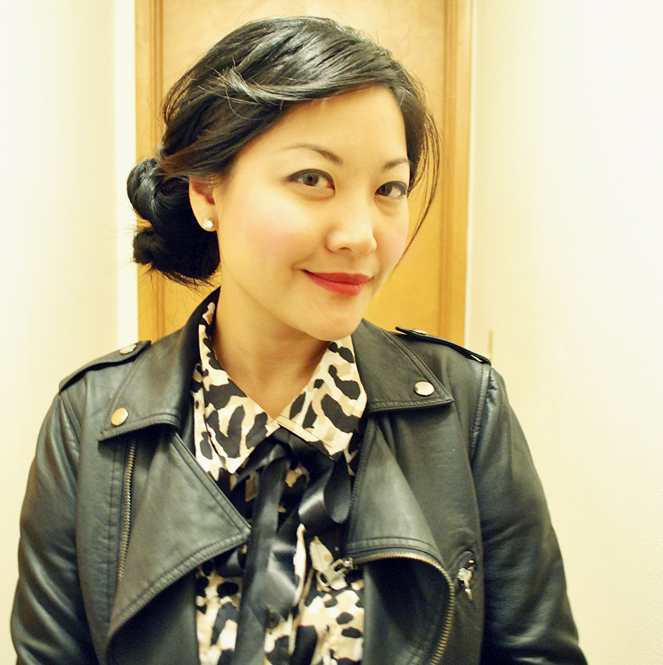 Twisted Side Bun - Red Lipstick - Moto Jacket - Animal Print Blouse - Ribbon Bow