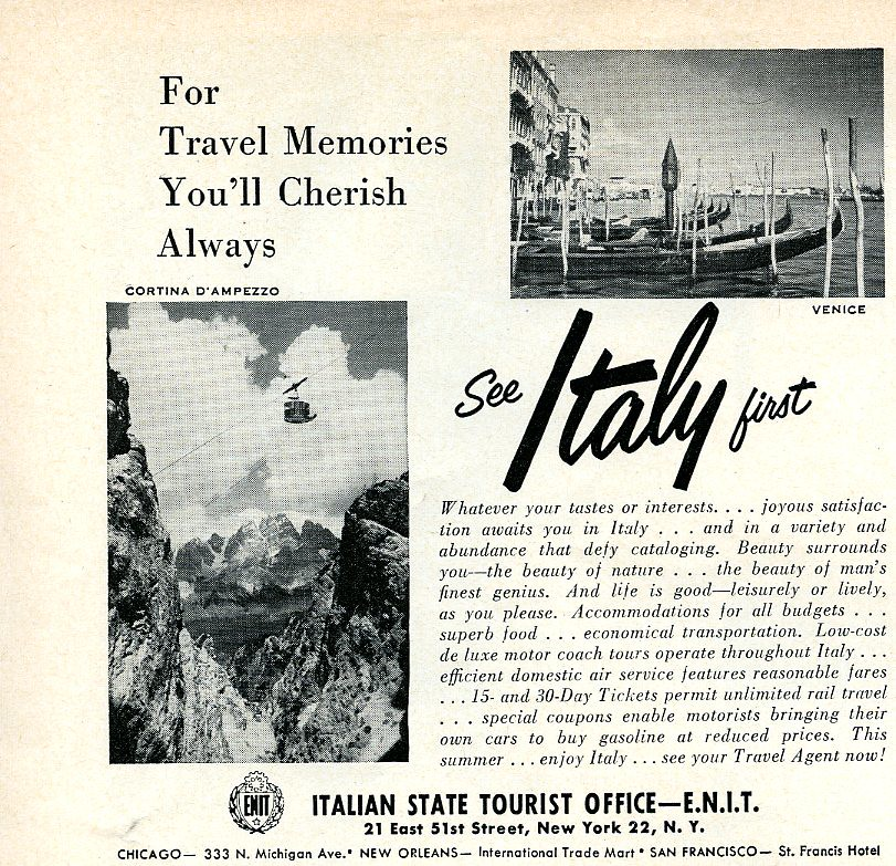 See Italy First 1957
