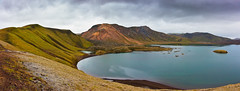 Frostastaðavatn (Thierry Hennet) Tags: summer panorama orange lake green nature zeiss landscape outdoors iceland nationalpark aqua sony scenic highland ambient cloudysky mountainrange tranquilscene landmannalaugar traveldestinations a900 frostastaðavatn cz2470mmf28