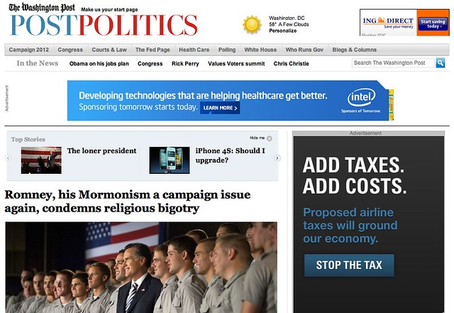 Washington Post Article Headline on Romney Response