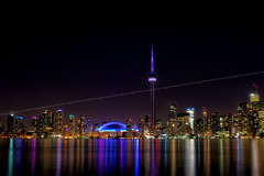 Keep the track - Toronto (Yohsuke_NIKON_Japan) Tags: city longexposure light urban toronto ontario canada reflection beautiful night plane 35mm airplane nikon colorful waterfront lakeside line northamerica nightview lakeontario 夜景 lightroom torontoislands 湖 長時間露光 カナダ 反射 トロント explored カラフル 軌跡 湖畔 colorefex 単焦点 オンタリオ湖 cnタワー billybishoptorontocityairport d3100 トロントアイランド