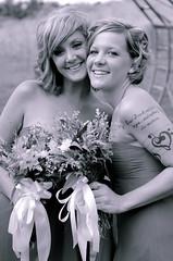 Bridesmaids (Truebritgal) Tags: flowers wedding ladies girls ohio 2 two portrait woman up closeup tattoo lady countryside nikon women dof close cheek bridesmaid mauve ribbon bouquet bridal nikkor tone 50mmf18 hopedale d7000 truebritgal