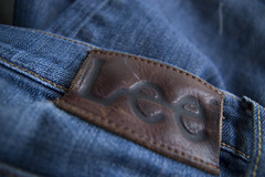 Lee Label showing lettering detail (Mr & Mrs Cossey) Tags: leather clothing label jeans stitching denim
