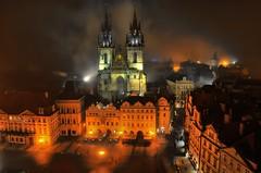 It was a foggy night in Prague (beyondhue) Tags: our light shadow fall fog lady night dark republic czech prague basilica foggy praha tyn staromestske chram namesti tynsky beyondhue
