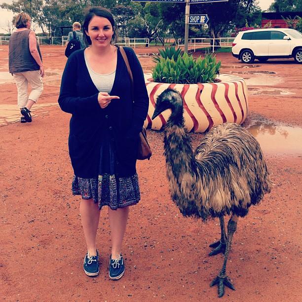 Me and a random emu at a petrol station.
