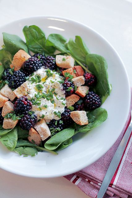 Blackberries, Cottage Cheese and Crutons