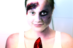 Pre-Halloween Makeup Session (lundwall) Tags: halloween netherlands amsterdam blood october zombie knife makeup horror zombies splatter autopsy 2011 kryolan