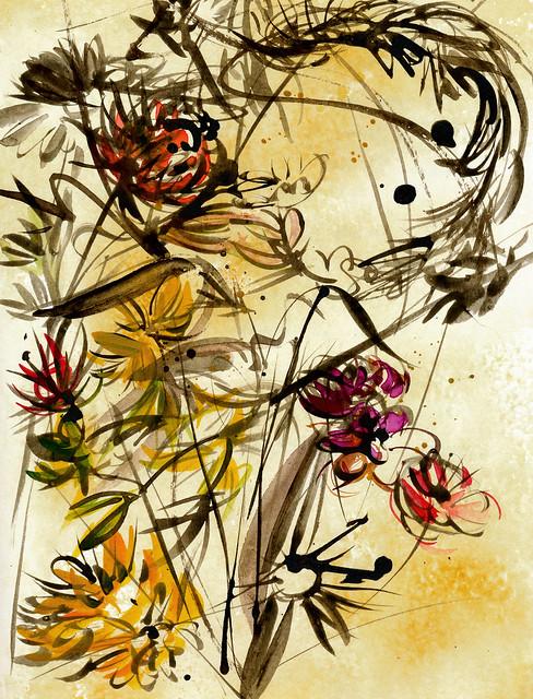 sepia-flowers-color