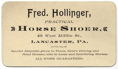 Fred Hollinger, Practical Horseshoer, Lancaster, Pa. (Alan Mays) Tags: old horses vintage ads paper advertising typography pennsylvania antique 19thcentury victorian ephemera pa businesscards type lancaster lancastercounty advertisements fonts printed horseshoes practical typefaces nineteenthcentury farriers mifflinstreet guaranteed hollinger horseshoers fredhollinger practicalhorseshoers