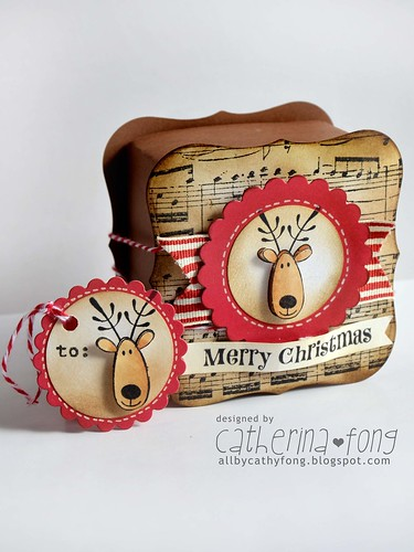 Merry Christmas gift box and mini tag 02