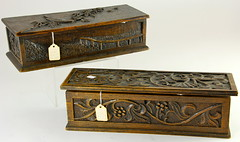 2008. Two Rectangular Carved Wooden Boxes