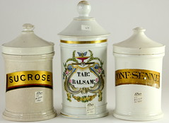 2006. Group of (3) 19th c. Ironstone Apothecary Jars