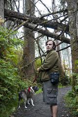 Abby and Matthew (Kevin_Barrett) Tags: trees dog forest washington nationalpark sony olympicpeninsula alpha rubybeach olympicnationalpark a700 tamron1750