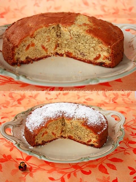 immagine foto torta dolce di patate viola e albicocche