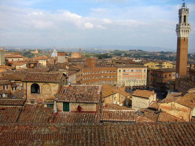 [photo-il campo and tuscan hillside from siena duomo dome top]