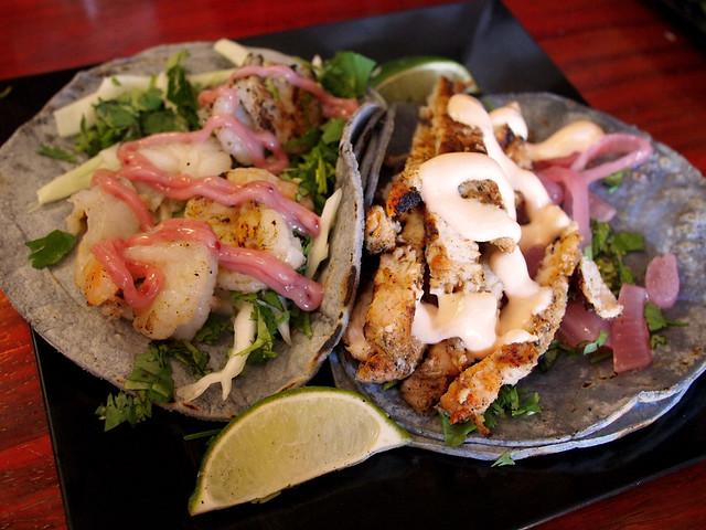 Shrimp and Pork Tacos at Mexicali Blue