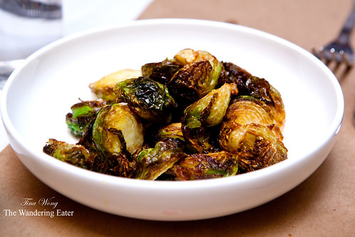 Roasted brussels sprouts with chili flakes and honey